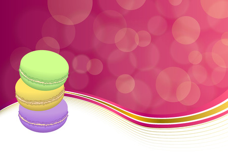 violet purple: Abstract background pink macaroon yellow violet purple green frame illustration
