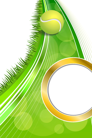 abstrakt gr�n: Background abstract green tennis sport yellow ball vertical gold circle frame illustration