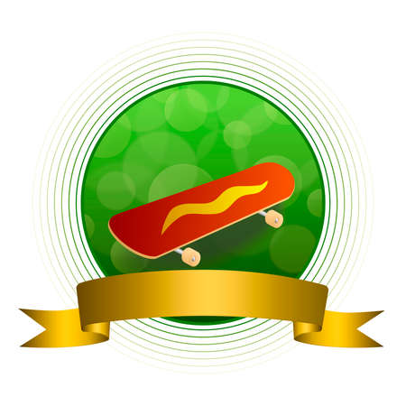 jaune rouge: Background abstract green skateboard red yellow circle gold ribbon frame illustration Illustration