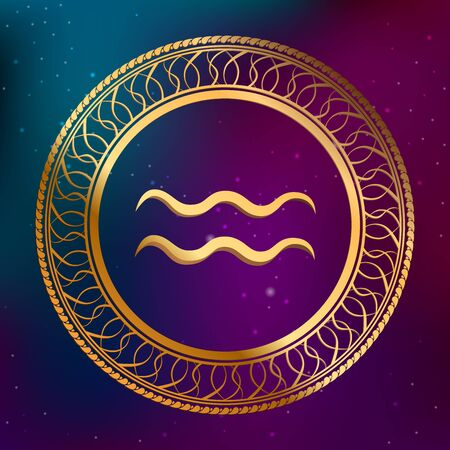 abstract aquarius: Abstract background astrology concept gold horoscope zodiac sign aquarius circle frame illustration Illustration