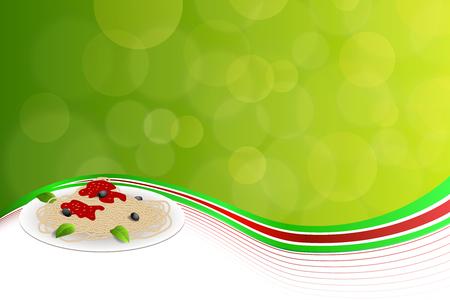 Alimentos Fondo abstracto pasta blanca Italia verde amarillo rojo ilustración Foto de archivo - 47828068