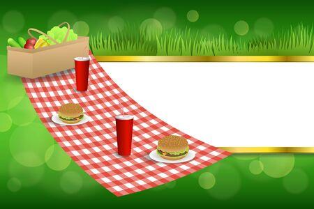 picnic food: Background abstract green grass picnic basket hamburger drink vegetables gold stripes frame illustration vector Illustration