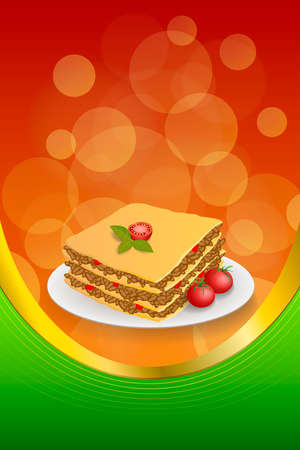 lasa�a: Background abstract lasagna food meat tomato yellow green red frame vertical gold ribbon illustration vector