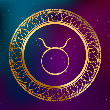 Abstract background astrology concept gold horoscope zodiac sign Taurus circle frame illustration vector