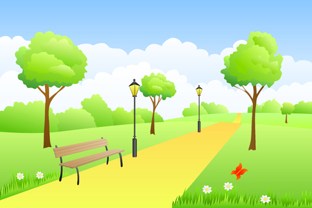 landscape road: Park summer landscape day illustration vector