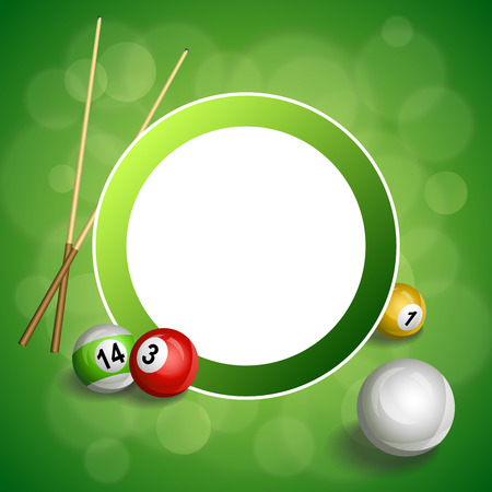 pool cue: Background abstract green billiard pool cue red ball circle frame illustration vector Illustration