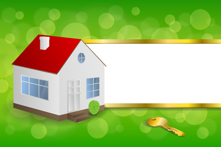 gold house: Background abstract green gold house key frame stripes illustration vector