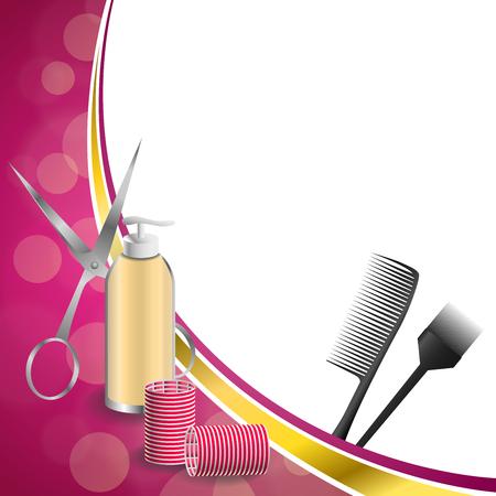 curler: Background abstract pink hairdressing barber tools red curler scissors brush gold ribbon frame illustration vector