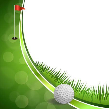 green lines: Background abstract green golf sport white ball red flag illustration vector