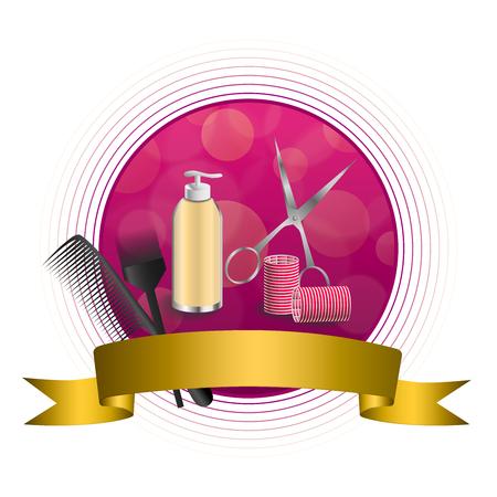 curler: Abstract background pink hairdressing barber tools red curler scissors brush gold circle frame ribbon illustration vector Illustration