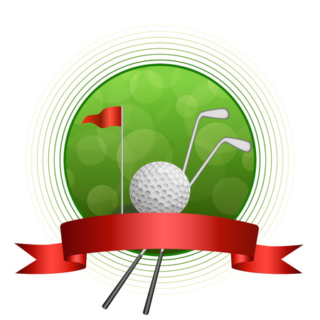 golf green: Background abstract green golf sport white ball club circle frame red flag ribbon illustration vector
