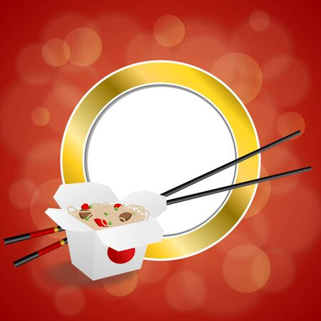gold circle: Abstract background Chinese food white box red yellow gold circle frame illustration vector Illustration