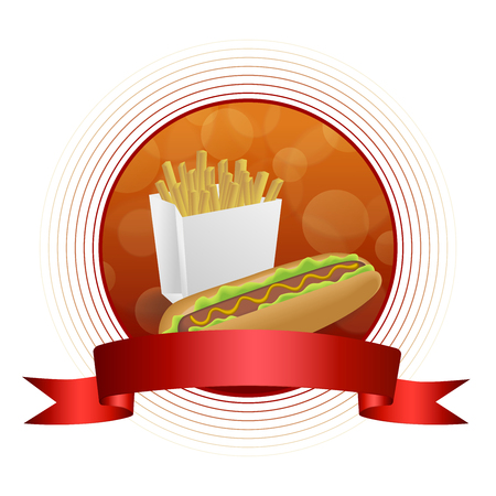 hot frame: Abstract background red yellow hot dog white french fries box circle frame ribbon illustration vector