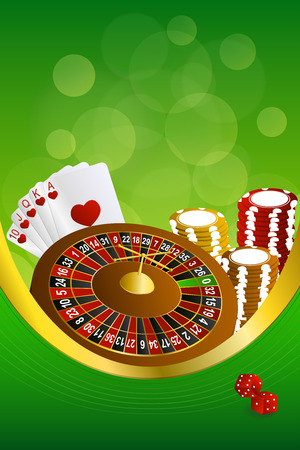 craps: Background abstract green casino roulette cards chips craps frame vertical gold ribbon illustration vector