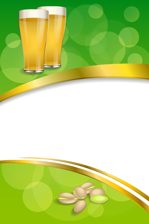 pistachios: Background abstract green drink glass beer pistachios frame vertical gold ribbon illustration vector Illustration