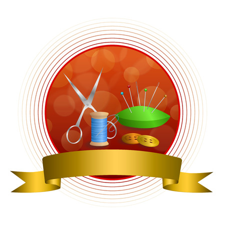 gold circle: Abstract background sewing thread equipment scissors button needle pin green blue red yellow gold circle frame ribbon illustration vector Illustration