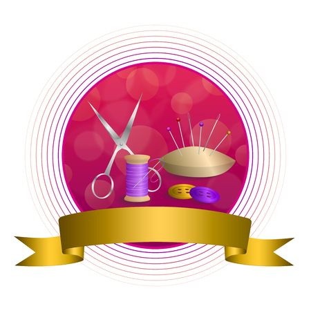 violet red: Abstract background sewing thread equipment scissors button needle pin pink violet red yellow gold circle frame ribbon illustration vector Illustration