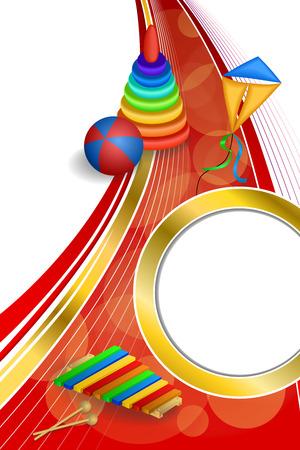 gold circle: Background abstract toys pyramid ball kite blue green red yellow gold circle ribbon vertical frame illustration vector Illustration