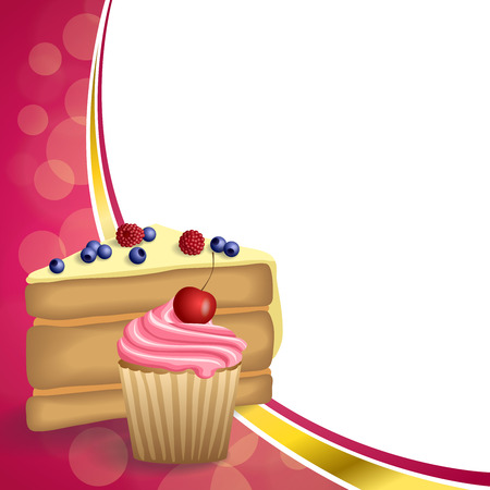 blueberry muffin: Abstract background pink yellow dessert cake blueberry raspberries cherry cupcake muffins cream frame illustration vector