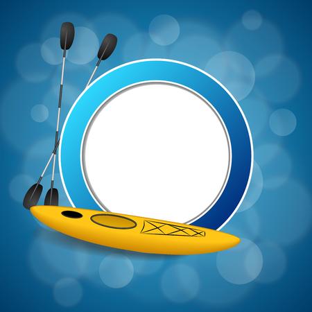 kayak: Background abstract blue kayak sport yellow circle frame illustration vector Illustration