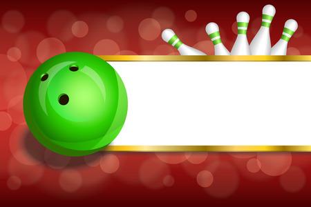 bolos: Franjas de oro rojo de fondo abstracto de bolos marco bola verde ilustración vectorial