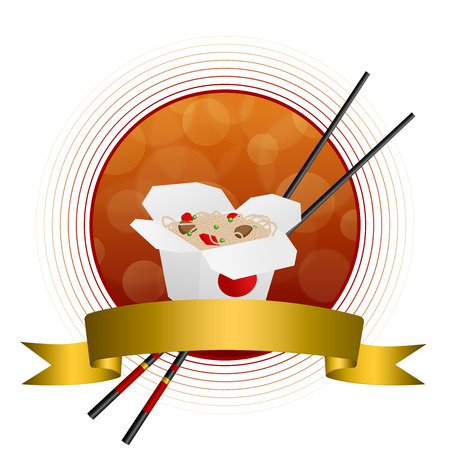 gold circle: Abstract background Chinese food white box red yellow gold circle frame ribbon illustration vector Illustration