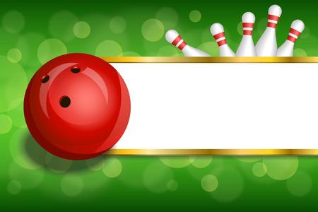 背景抽象緑ゴールド ストライプの赤ボール フレーム イラストをボウリング