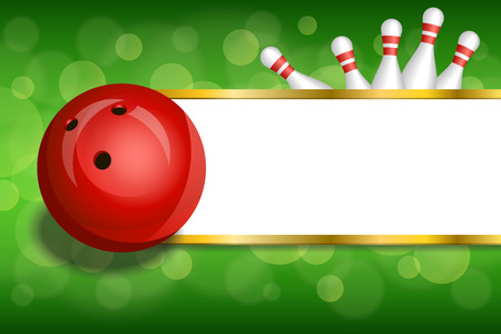 Background abstract green gold stripes bowling red ball frame illustration vector Ilustrace