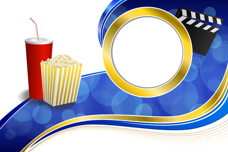 gold circle: Background abstract blue red drink popcorn movie clapper board gold circle frame illustration vector Illustration