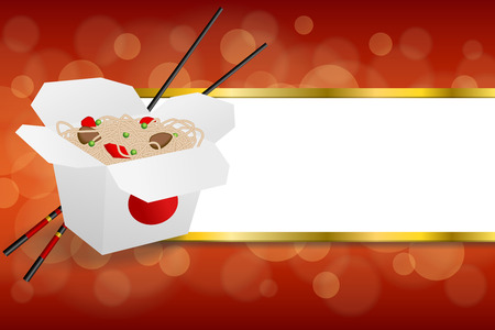 negocios comida: Background abstract Chinese food white box black sticks red yellow stripes gold frame illustration vector