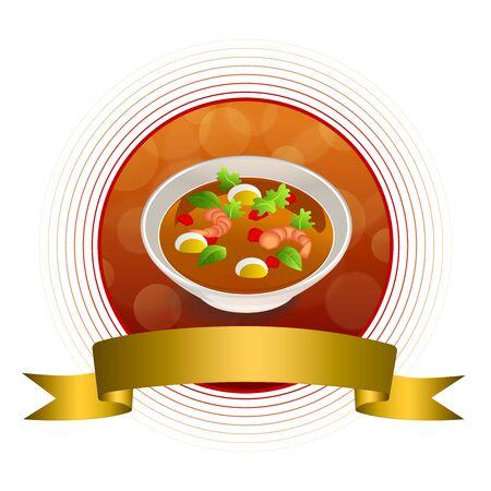gold circle: Abstract background food sea thai soup red green yellow shrimp egg gold circle frame ribbon illustration vector Illustration