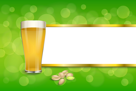 pistachios: Background abstract green drink glass beer pistachios frame gold stripes illustration vector