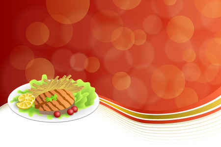 grilled salmon: Abstract background food grilled salmon fish tomato French fries lemon yellow salad green red gold frame illustration vector