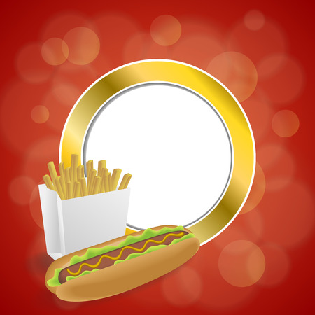 gold circle: Abstract background hot dog white French fries box red yellow gold circle frame illustration vector Illustration