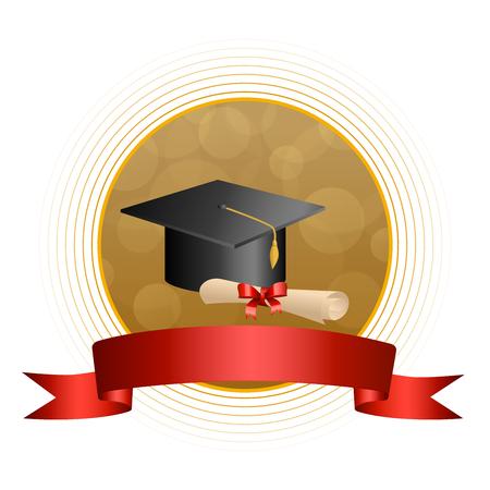 背景抽象ベージュ教育卒業キャップ赤ディプロマ ボー リボン サークル フレーム イラスト