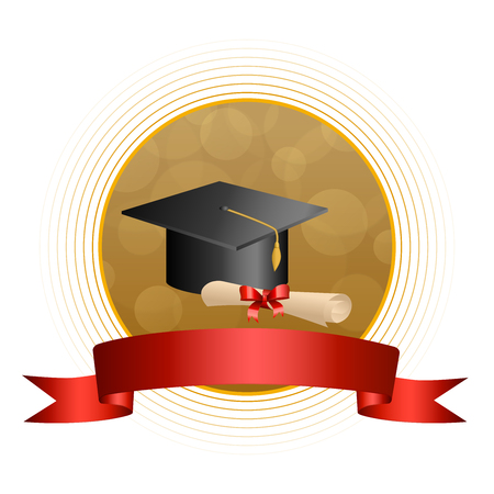 Background abstract beige education graduation cap diploma red bow ribbon circle frame illustration vector