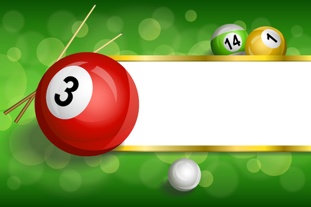 pool cue: Background abstract green billiards pool cue red ball frame stripes gold illustration vector