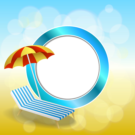 deck chair: Abstract background summer beach vacation deck chair red umbrella blue yellow circle frame illustration vector Illustration