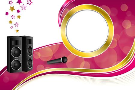 karaoke: Background abstract karaoke microphone loudspeaker star pink yellow gold ribbon circle frame illustration vector