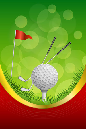 white background abstract: Background abstract green golf sport white ball red flag club frame vertical gold ribbon illustration vector Illustration
