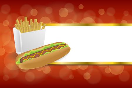 negocios comida: Fondo abstracto de perros calientes blancas patatas fritas caja de rayas amarillas rojas marco de oro ilustración vectorial Vectores