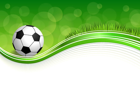 Background abstract green grass football soccer ball frame illustration vector