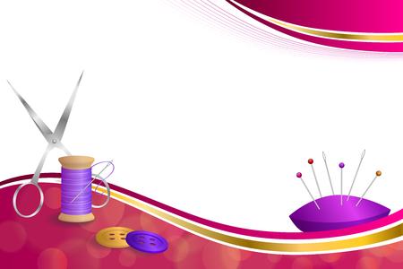 Hintergrund abstrakt Nähgarn Geräte Schere Button Nadelstift rosa violett rot gelb gold ribbon frame Videos