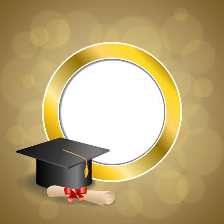 birretes: Resumen de antecedentes de color beige educación graduación del diploma del casquillo arco rojo Marco de círculo de oro ilustración vectorial Vectores