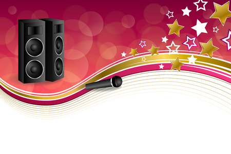 empty frame: Background abstract karaoke microphone loudspeaker star pink yellow gold ribbon frame illustration vector