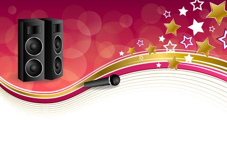 karaoke: Background abstract karaoke microphone loudspeaker star pink yellow gold ribbon frame illustration vector