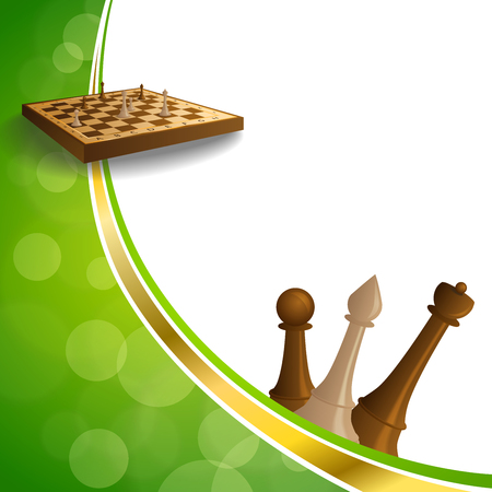 gold brown: Background abstract green gold chess game brown beige board figures frame illustration vector