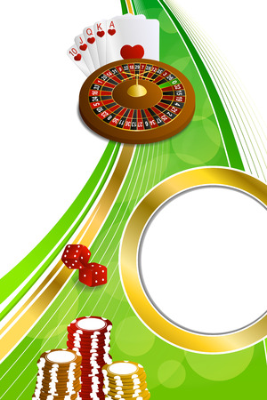 craps: Background abstract green gold casino roulette cards chips craps vertical frame illustration vector