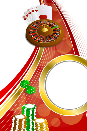 rojo y dorado: Background abstract red gold casino roulette cards chips craps vertical frame illustration vector