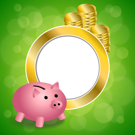gold circle: Abstract background green pink pig moneybox money coin gold circle frame illustration vector Illustration